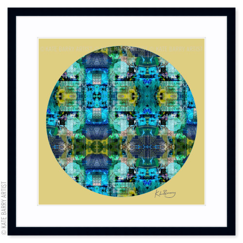 In the Shallows original digital work on gold with black frame | Kate Barry Artist