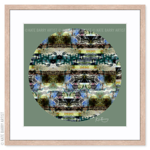 Lace and Moss original digital work on green with natural frame | Kate Barry Artist