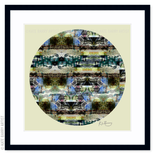 Lace and Moss original digital work on yellow with black frame   Kate Barry Artist