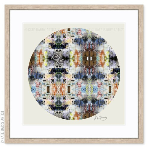 Lime Markings original digital work on neutral with natural frame | Kate Barry Artist