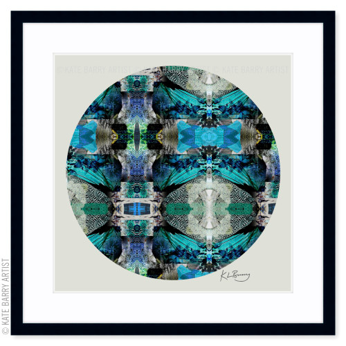 Speckled French Hen original digital work on green with black frame   Kate Barry Artist