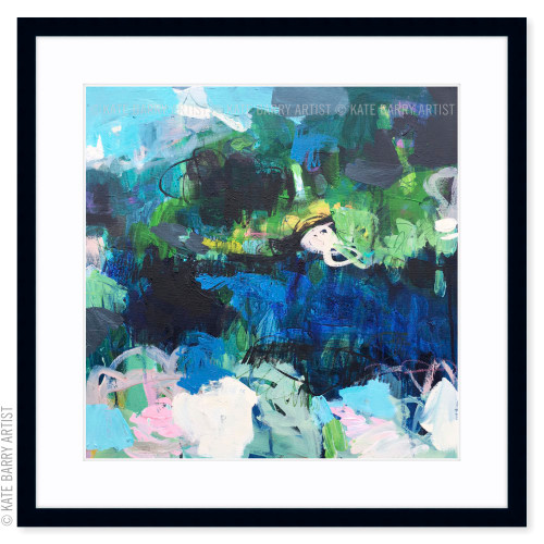 Surge limited edition art print | Black | Kate Barry Artist bright colours, paint drips