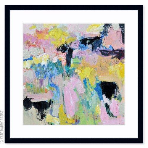 Spring Rain limited edition art print | Black | Kate Barry Artist bright colours, paint drips
