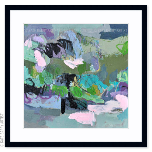 Refraction limited edition art print | Black | Kate Barry Artist purple and green, paint drips