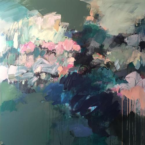 Slate Canopy | 126 cm x 126 cm | Framed | Acrylic and water based oil on linen