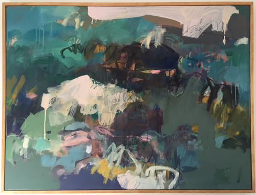 Equinox Green   79 cm x 104 cm   Framed   Ink, acrylic and water based oil on linen