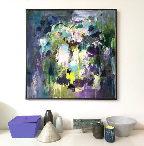 Sunlight Through Bush  | 93 cm x 93 cm | Framed | Water based oils, acrylic and pastel on board