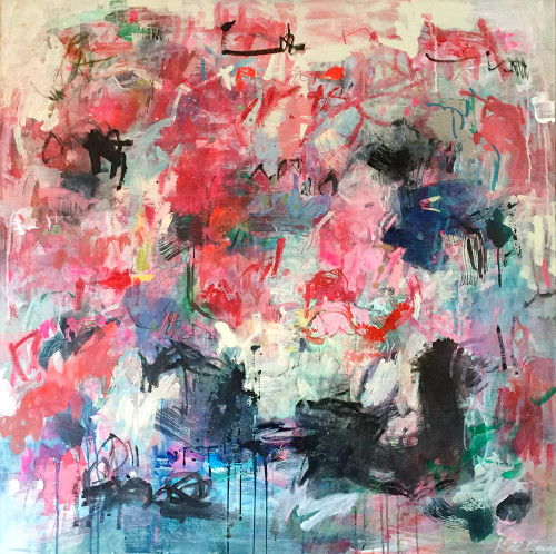Red Motif  | 125 cm x 125 cm | Framed | Acrylic, water based oil and pastel on canvas