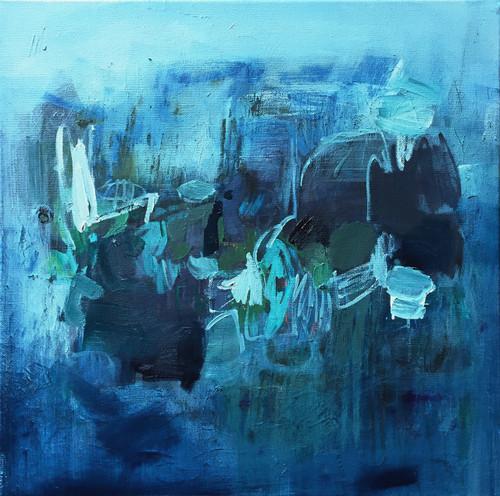 Kate Barry Artist | Denim Sea | 48 cm x 48 cm