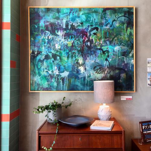 Kate Barry Artist | Rush | 94 cm x 117 cm | Framed | Ink and acrylic on canvas