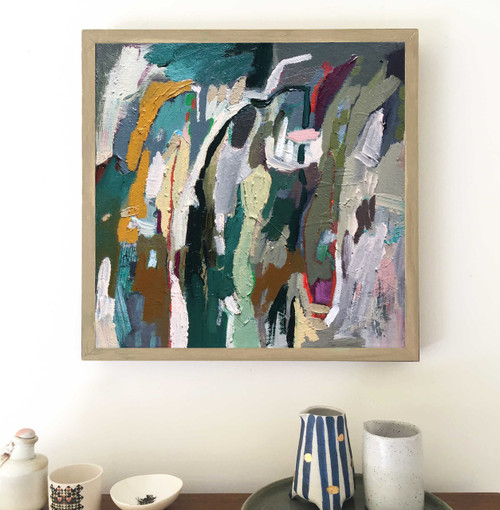 Kate Barry Artist | Seeking | 34 cm x 34 cm | Framed | Oil on linen