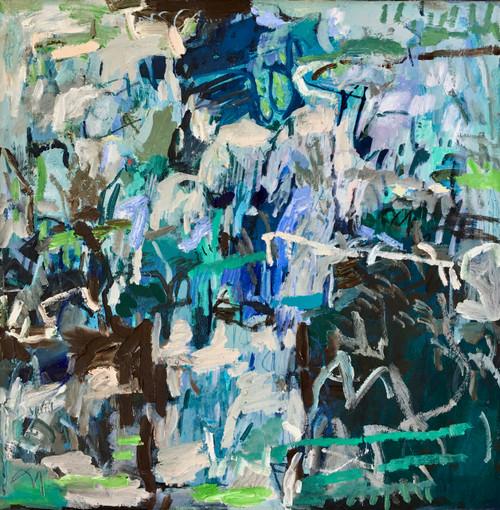 Kate Barry Artist | Eliminate| 59 cm x 59 cm | Framed | Oil and acrylic on canvas