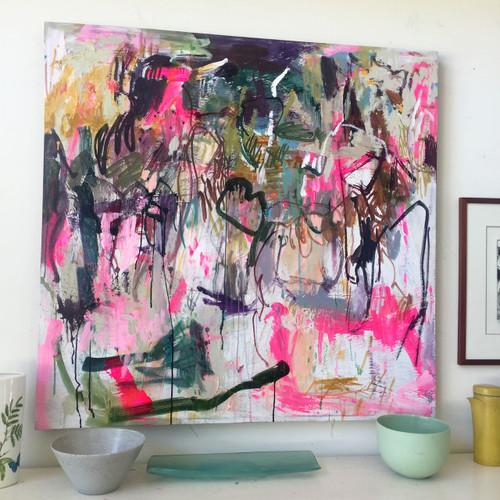 Kate Barry Artist | Shredding | 127 cm x 127 cm | Framed | Acrylic on canvas