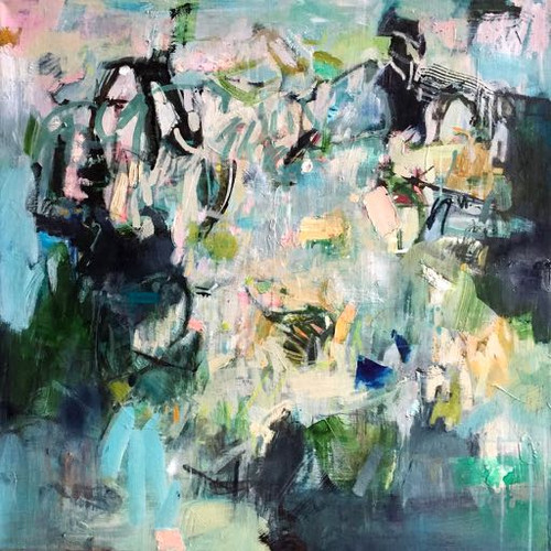 Kate Barry Artist | Convergence | 80 cm x 80 cm | Framed | Oil and acrylic on canvas