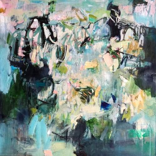 Kate Barry Artist | Convergence | 80 cm x 80 cm | Framed | Oil and acrylic on canvas