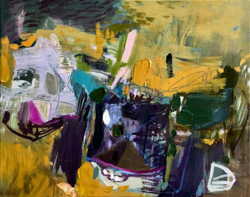 Kate Barry Artist | Flaxen Longing | 43 cm x 53 cm | Framed | Oil and acrylic on canvas