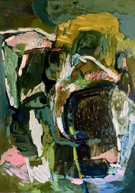 Kate Barry Artist | Yellow Arc | 45 cm x 33 cm | Framed | Oil and acrylic on board