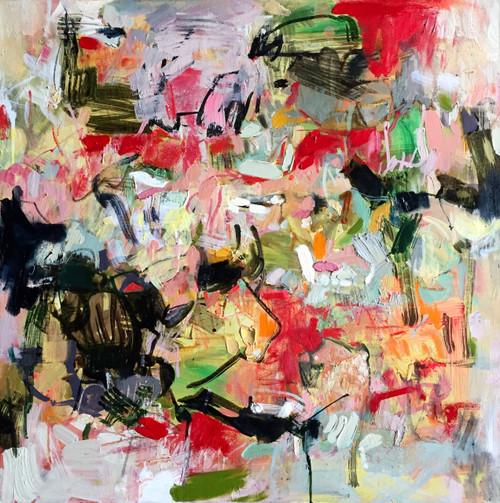 Kate Barry Artist | Peachy Posy | 78 cm x 78 cm | Framed | Oil and acrylic on canvas