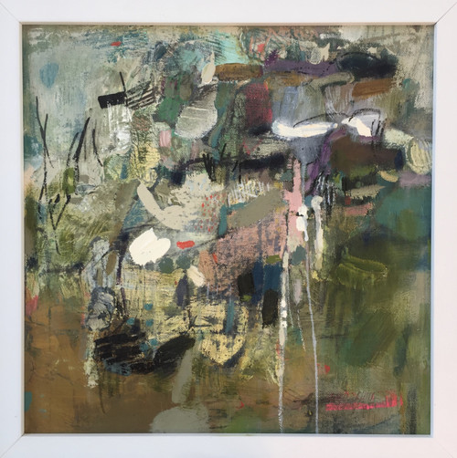 Kate Barry Artist | Reveal | 34 cm x 34 cm | Framed | Oil and acrylic on canvas