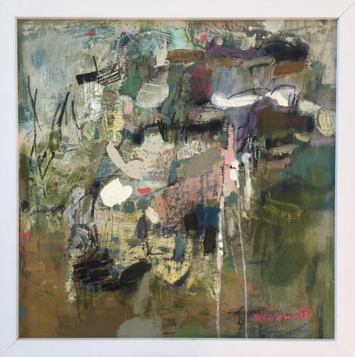 Kate Barry Artist | Reveal | 34 cm x 34 cm | Framed | Oil and acrylic on canvas