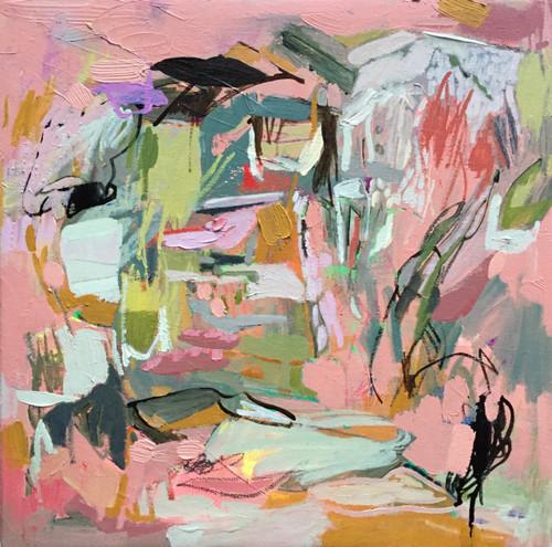 Kate Barry Artist | Tropical Shade | 53 cm x 53 cm | Framed | Oil and acrylic on canvas