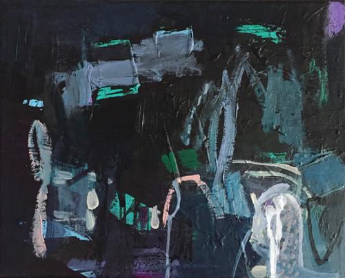 Kate Barry Artist | Night Screech | 23 cm x 28 cm | Framed | Oil and acrylic on canvas