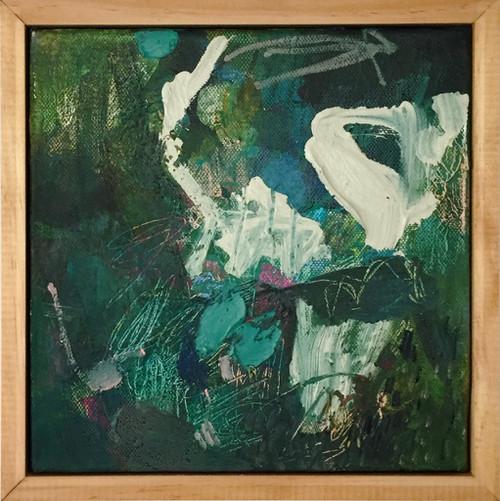 Kate Barry Artist   Shrugged   23 cm x 23 cm   Framed   Acrylic on canvas