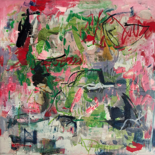 Kate Barry Artist | Lyrical Way | 48 cm x 48 cm | Framed | Oil, acrylic and ink on canvas