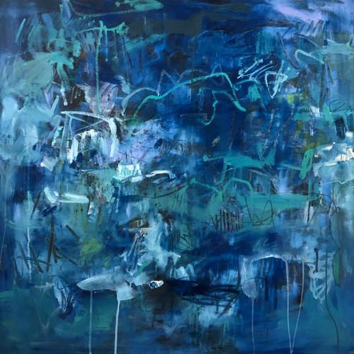 Kate Barry Artist | Perilous Blue | 80 cm x 80 cm | Framed | Oil, acrylic and ink on canvas