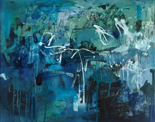 Kate Barry Artist  | Blue Scrub | 44 cm x 54 cm | Framed | Oil and ink on canvas