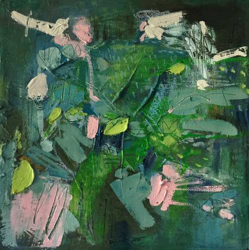 Kate Barry Artist | Leaf Breeze | 28 cm x 28 cm | Framed | Oil and acrylic on canvas