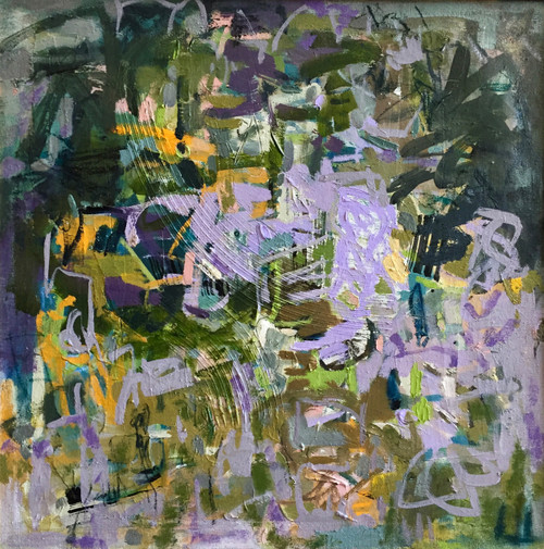 Kate Barry Artist   Lilac Afternoon   53 cm x 53 cm   Framed   Oil and acrylic on linen