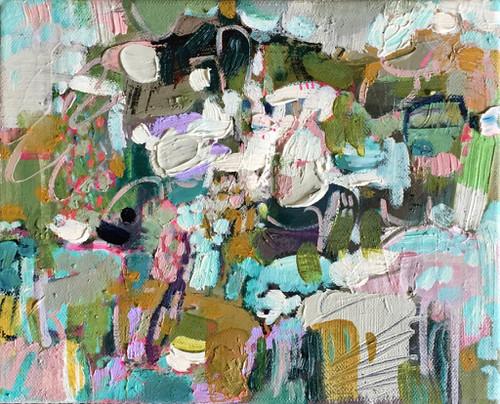 Kate Barry Artist | Cloud Play | 23 cm x 28 cm | Framed | Oil and acrylic on canvas
