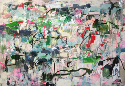 Kate Barry Artist | Dispersing Green | 80 cm x 80 cm | Framed | Oil, acrylic and ink on canvas