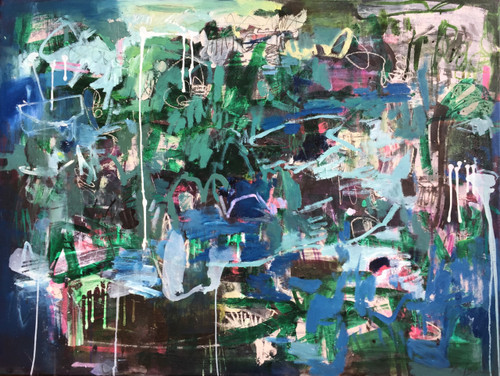 Kate Barry Artist | Conversation Blue | 89 cm x 104 cm | Framed | Oil, acrylic and ink on canvas