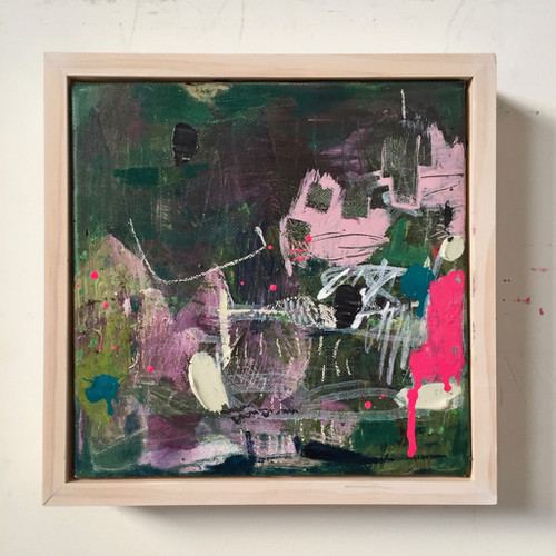 Kate Barry Artist | Resist | 23 cm x 23 cm | Framed | Oil on canvas