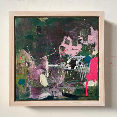 Kate Barry Artist | Resist | 23 cm x 23 cm | Framed | Oil on canvas