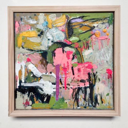 Kate Barry Artist | Emerge | 23 cm x 23 cm | Framed | Oil and acrylic on canvas
