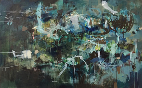Kate Barry Artist | Bush Bathing | 79 cm x 125 cm | Framed | Oil, acrylic and ink on linen Awarded Second Prize Abstract Exhibition Petrie Tce Gallery Qld. Judge Leigh Camilleri