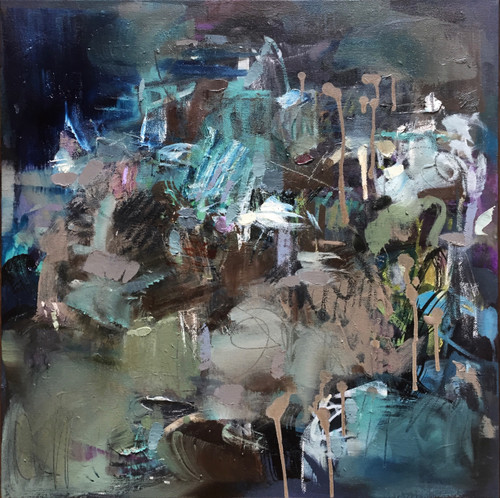 Kate Barry Artist | Night Meander | 54cm x 54cm | Oil and acrylic on linen