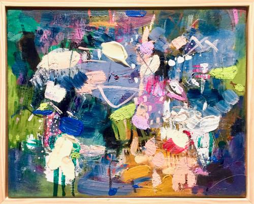 Kate Barry Artist | Blue Skies | 23 cm x 28 cm | Framed | Oil and acrylic on canvas