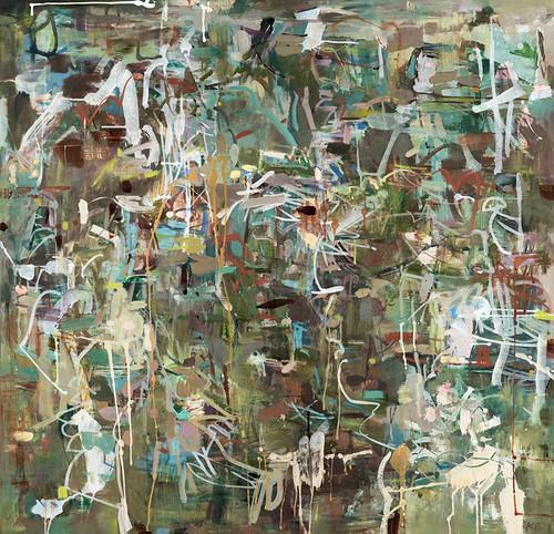Kate Barry Artist | Mt Coot-tha Bush Track Running | Oil and acrylic | 115 cm x 115 cm FINALIST MILBURN ART PRIZE 2019