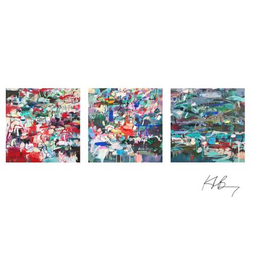 Kate Barry Artist | Live | Shine | Hold | 53 cm x 53 cm each | Framed | Oil and acrylic on canvas
