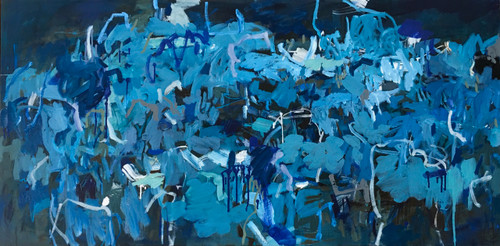 Kate Barry Artist | Wave Traveling Blue | Oil and acrylic | 80 cm x 155 cm