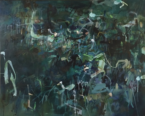 Outlook | 125 cm x 155 cm | Framed | Oil, acrylic and ink on canvas | Kate Barry
