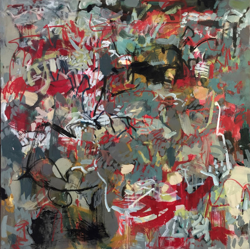 Cherry Orchards   79 cm x 79 cm   Framed   Oil, acrylic and pastel on canvas