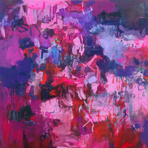 Kate Barry Artist | Glide | Oil and acrylic | Framed | 110 cm x 110 cm