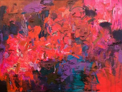 Trodden Blooms | 48 cm x 64 cm | Framed | Oil and acrylic on canvas