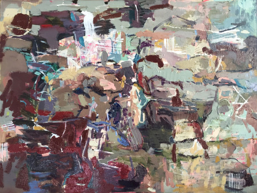 Kate Barry Artist | Patched Land | 49 cm x 64 cm | Framed | Oil and acrylic on canvas
