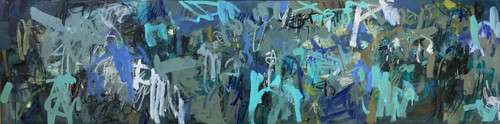 Kate Barry Artist | Blue Upheaval | 64 cm x 245 cm | Framed | Oil, acrylic and pastel on board